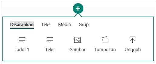 Cuplikan layar opsi Sisipkan Konten.