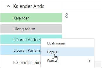 Cuplikan layar opsi Hapus kalender
