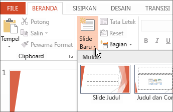 Menyisipkan slide baru