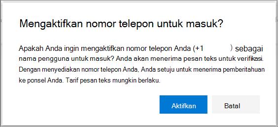 Dialog Konfirmasi untuk mengaktifkan akses masuk SMS ke nomor telepon