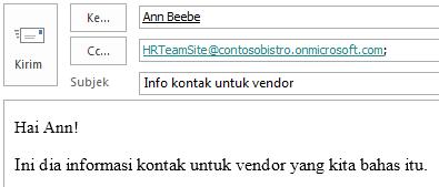 Pesan Email dengan kotak surat situs yang disertakan dalam bidang CC.
