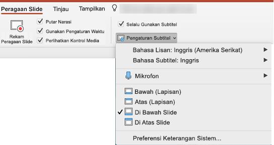 Pengaturan untuk teks dan Subtitle ada di tab peragaan slide di PowerPoint.