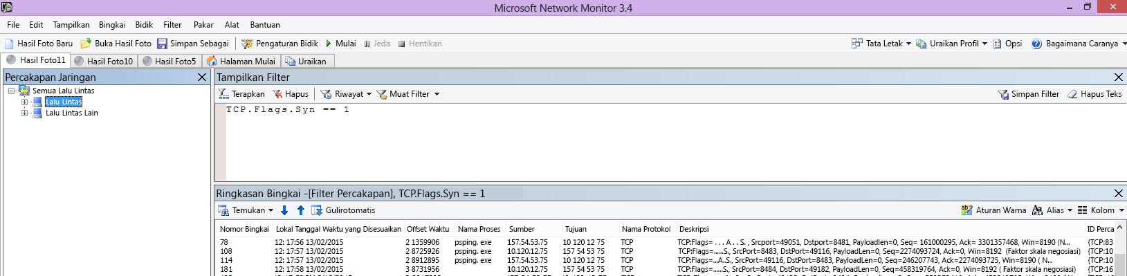 Jejak Netmon dari klien memperlihatkan perintah PSPing yang sama melalui filter TCP.Flags.Syn == 1.