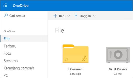 Cuplikan layar Vault Pribadi yang muncul dalam tampilan File di OneDrive di web