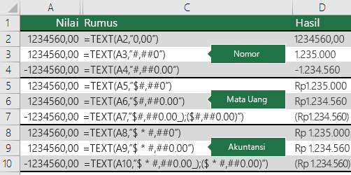 Contoh fungsi TEKS dengan format angka, mata uang dan akuntansi