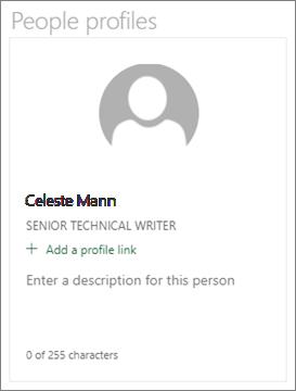 Deskriptif kartu untuk komponen web orang