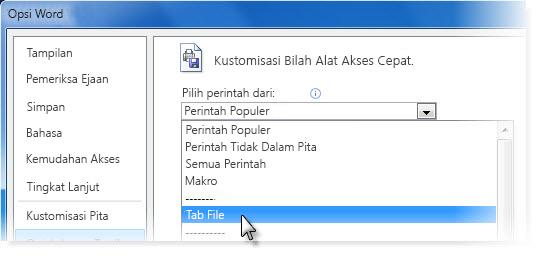 Kustomisasi Toolbar Akses Cepat dengan menambahkan perintah pada tab File