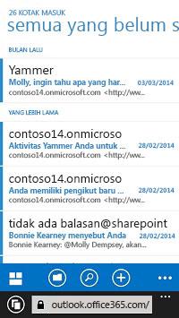 Email ditampilkan di OWA pada perangkat seluler