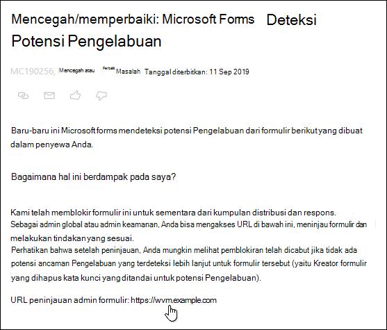 Mengarahkan ke hyperlink URL peninjauan formulir di pusat admin Microsoft 365 posting tentang Microsoft forms dan deteksi Pengelabuan