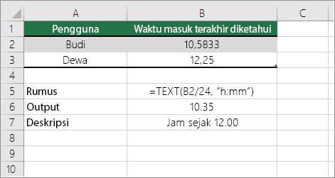 Contoh: Mengonversi jam dari angka desimal ke waktu standar