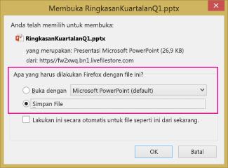 Apa yang harus dilakukan Firefox dengan file ini?