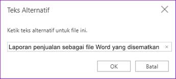 Menambahkan teks alt ke file yang disematkan di OneNote Online
