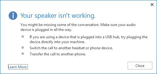 Cuplikan layar untuk kesalahan audio dan opsi untuk memeriksa