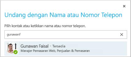 Undang dengan nama atau nomor telepon kotak dialog
