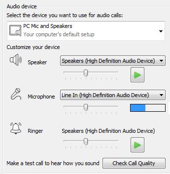 Cuplikan layar kotak pilihan perangkat Audio tempat Anda bisa mengatur kualitas audio