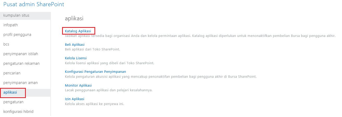 Tangkapan Layar Kategori Aplikasi Pusat Admin SharePoint.