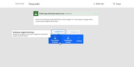 Cuplikan memperlihatkan Tambahkan tindakan yang dipilih