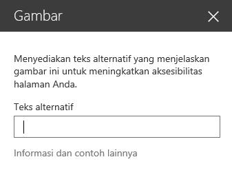 Cuplikan layar dialog Teks alt gambar di SharePoint.
