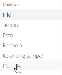 Navigasi sisi kiri portal OneDrive yang menampilkan PC