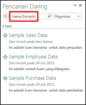 Panel Pencarian Online di Power Query