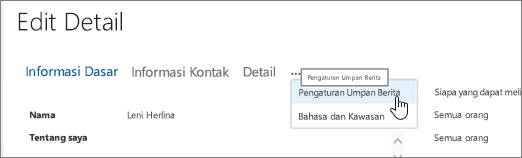Mouse mengarahkan mouse di atas elipsis pada halaman Edit detail Edit profil saya