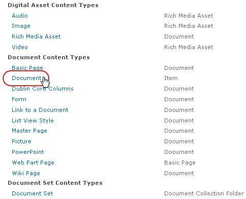 Tipe Konten Dokumen dengan tipe disorot