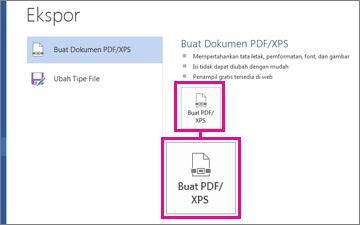 Tombol Buat PDF/XPS di tab Ekspor dalam Word 2016.