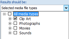 Dalam kotak Hasil Seharusnya, pilih tipe media yang ingin disertakan dalam hasil pencarian.