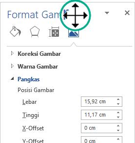Panel Format gambar dalam keadaan undocked: jendela mengambang bebas
