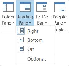 Panel Baca opsi pada tab tampilan