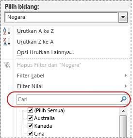 Kotak pencarian dalam daftar filter