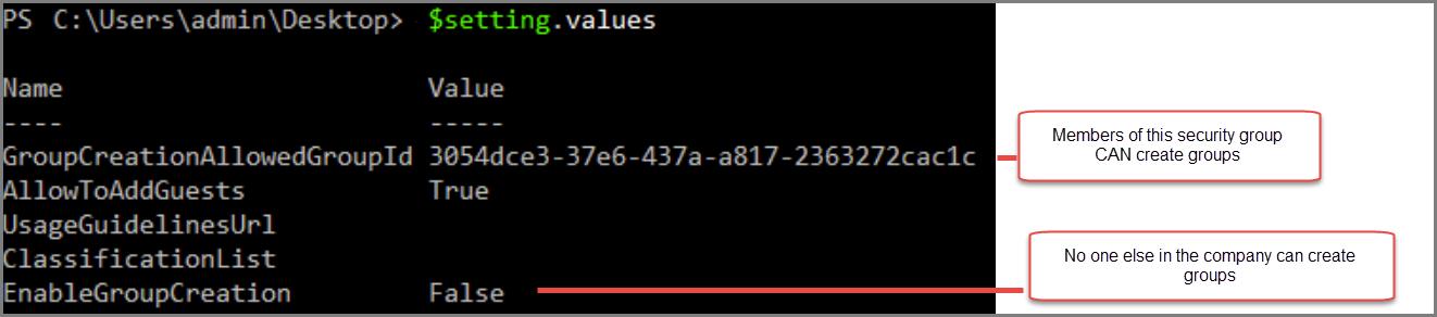 Objek Pengaturan grup dengan nilai yang diubah