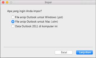 Mengimpor file arsip sebagai .olm.