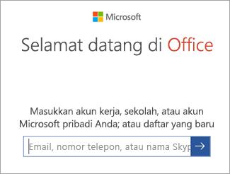 Masukkan email Akun Microsoft atau akun Office 365 Anda