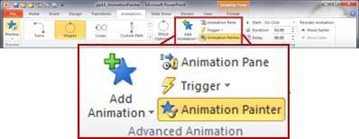 Tab Animasi di pita PowerPoint 2010.