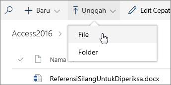 Cuplikan layar menu Unggah yang terbuka di pustaka dokumen.