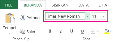 opsi font pada Pita Excel