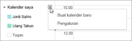 Pilih Kalender Saya lalu pilih Pengaturan