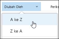 Mengurutkan tampilan pustaka dokumen di Office 365
