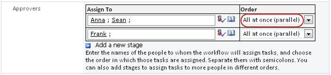 Formulir dengan pengaturan untuk paralel tahap disorot