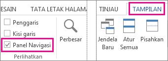 Gambar memperlihatkan kotak centang Panel Navigasi di bawah Tampilan