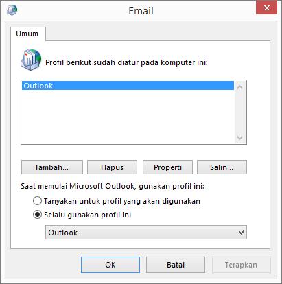 Lembar properti email yang digunakan untuk menambahkan atau menghapus profil untuk akun Outlook Anda