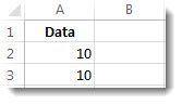 Data di sel A2 dan A3 dalam lembar kerja Excel