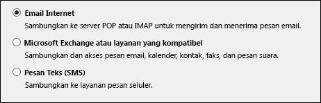 Memilih layanan untuk akun baru Outlook 2010