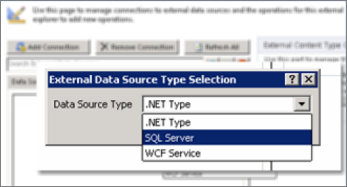 Cuplikan layar dialog Tambahkan koneksi di mana Anda bisa memilih tipe sumber data. Dalam kasus ini, maka tipe adalah SQL Server, yang bisa digunakan untuk menyambungkan ke SQL Azure.