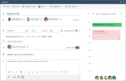 Menjadwalkan rapat dalam Outlook di web