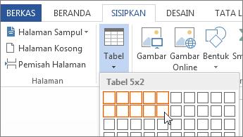 Kisi sisipkan tabel