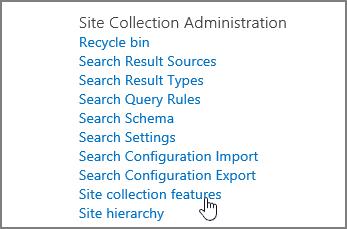 Fitur kumpulan situs dipilih pada menu administrasi kumpulan situs di bawah pengaturan