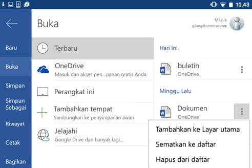 Cuplikan layar opsi Pin untuk terbaru di Android.