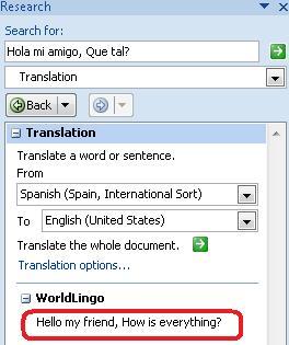 Kotak dialog Opsi Terjemahan